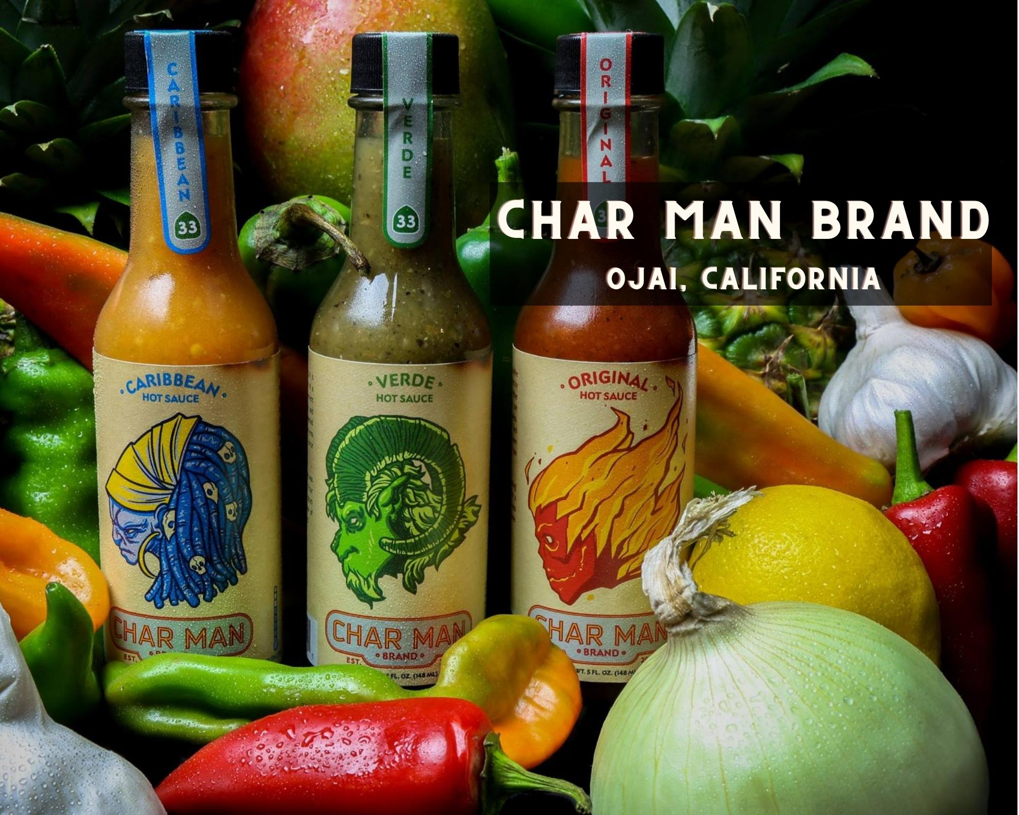 char man brand bottles and labels