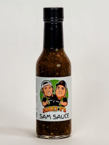 mikey v's sam's sauce label and bottle